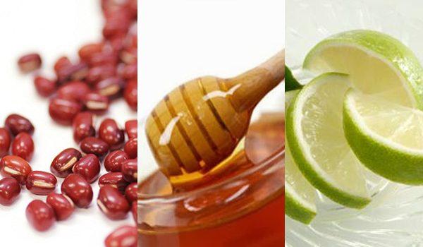mặt nạ đậu đỏ, chanh và mật ong giúp trị mụn hiệu quả