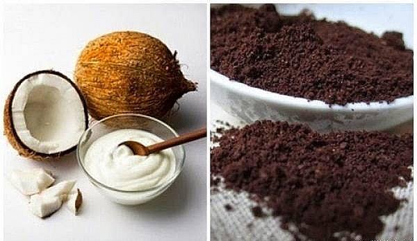 mặt nạ bã cà phê với dầu dừa