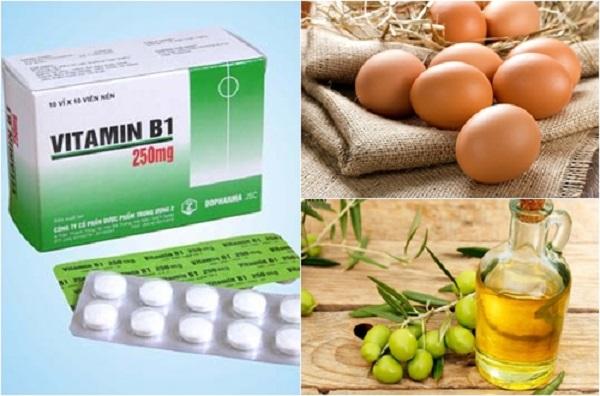Vitamin B1lòng đỏ trứng gà và dầu oliu giúp mái tóc khỏe mạnh và nhanh dài