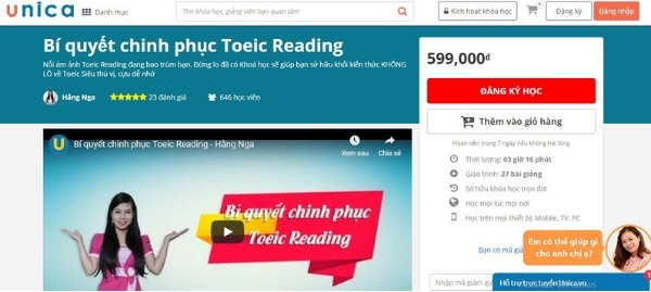 """Khóa học """"Bí quyết chinh phục Toeic Reading"""" tại Unica"""