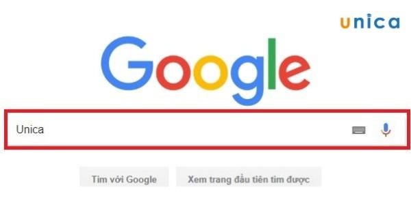 nhập từ khóa vào thanh công cụ tìm kiếm của Google
