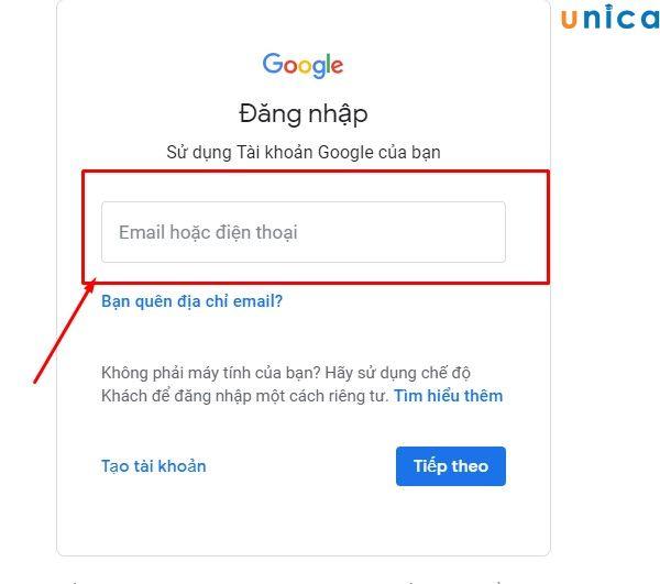 Truy cập vào trang web đăng nhập của Gmail và nhập mail của bạn