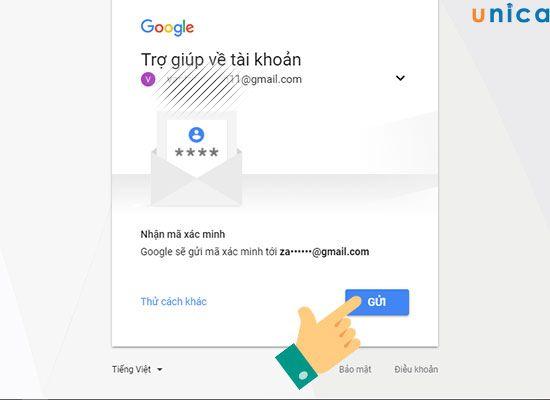 lấy lại mật khẩu Gmail qua một tài khoản Gmail khác