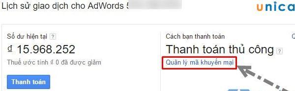 sử dụng được voucher khuyến mãi trong quảng cáo Google Adwords