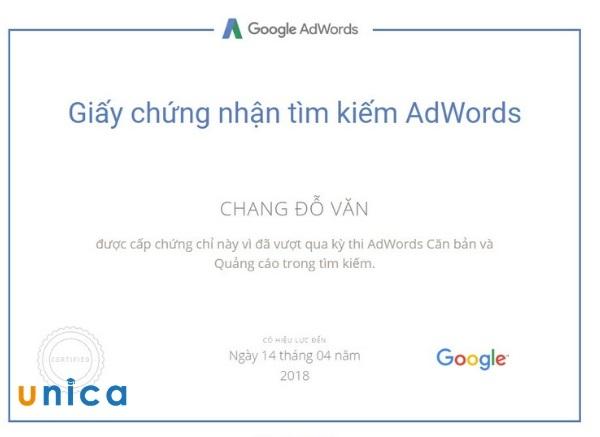 chứng chỉ quảng cáo trong tìm kiếm