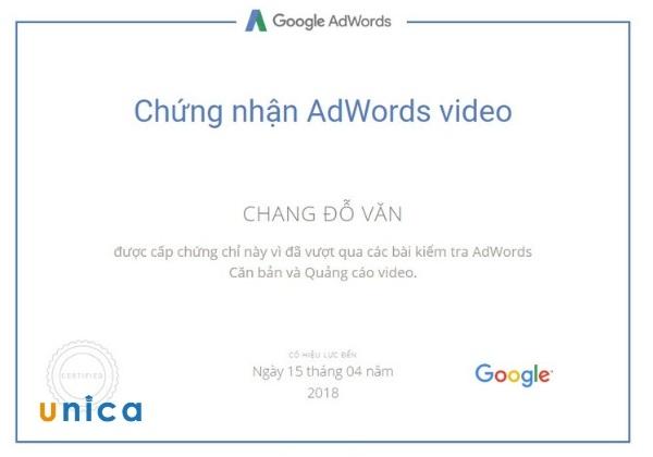 chứng chỉ quảng cáo video
