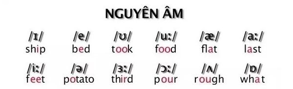 Ví dụ một số nguyên âm trong từ tiếng Anh