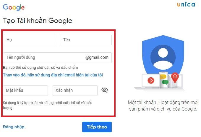 điền thông tin tài khoản khi lập tài khoản google adwords