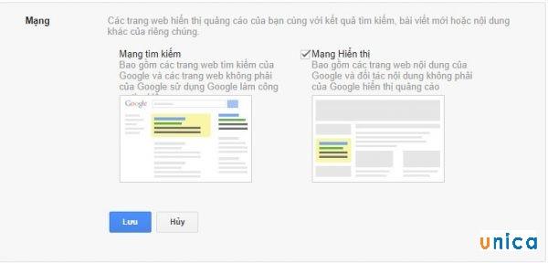 Chọn mạng lưới quảng cáo Google Adwords