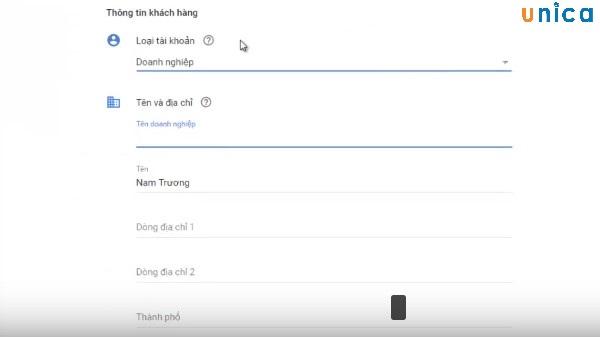 nhập thông tin thanh toán khi chạy quảng cáo Google Adwords