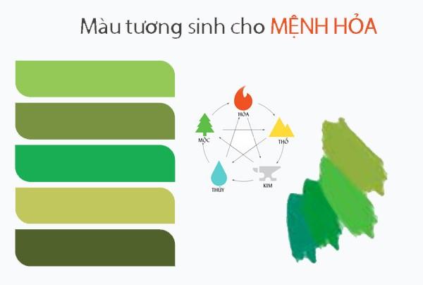 Màu xanh lá là màu tương sinh được cho mệnh Hỏa