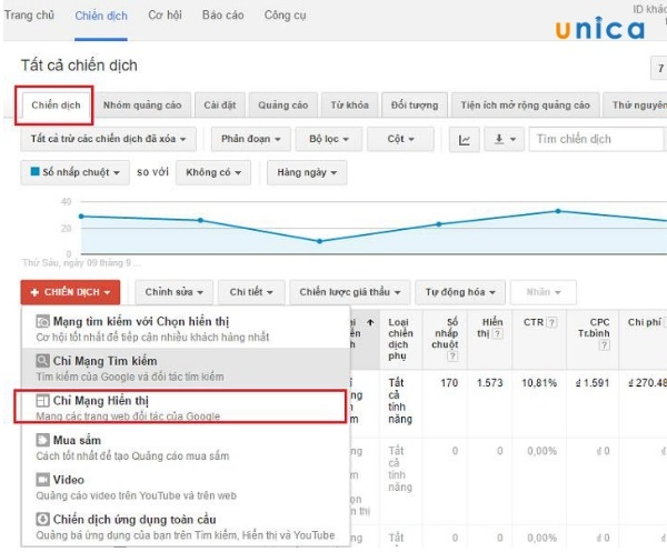 Đăng nhập vào tài khoản Google Adwords tạo quảng cáo mạng hiển thị google adwords