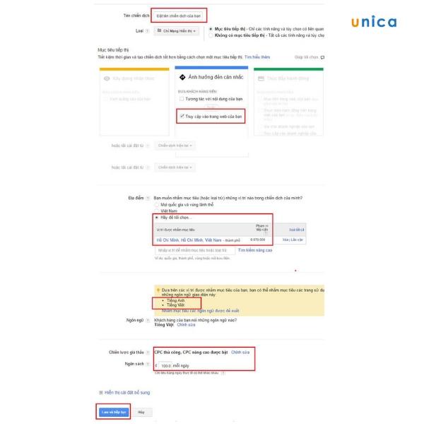 Tạo chiến dịch trong quảng cáo mạng hiển thị Google Adwords