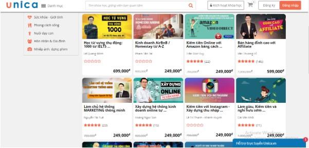 Tạo khóa học Online trên Unica website hàng đầu Việt Nam về các khóa học online