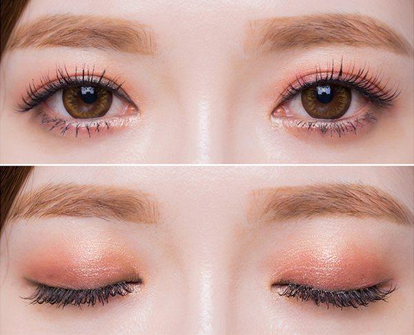 kẻ mắt nhẹ với tông màu mắt sáng mang vẻ dịu dàng