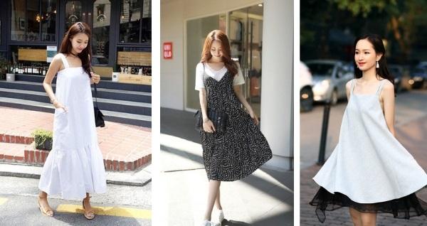 váy hai dây buông dài sẽ khiến bạn trông dịu dàng, nữ tính